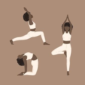 Mulheres jovens magras fazendo exercícios de ioga. coleção de ilustrações vetoriais