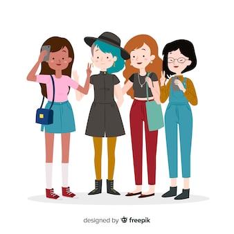 Mulheres jovens, passar tempo, junto
