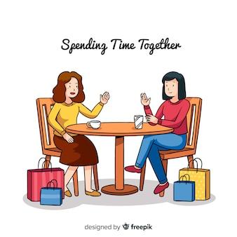 Mulheres jovens, passar um tempo com o outro
