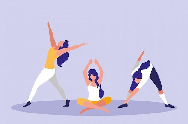 Mulheres jovens, realizando exercício ícone