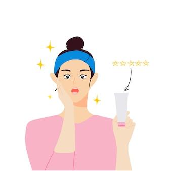 Mulheres jovens revisam produtos para a pele com ilustração de caráter humano de cinco estrelas
