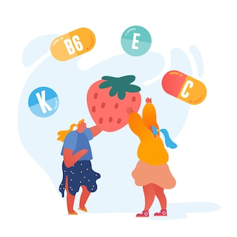 Mulheres jovens segurando enorme morango com símbolos de vitaminas ao redor.