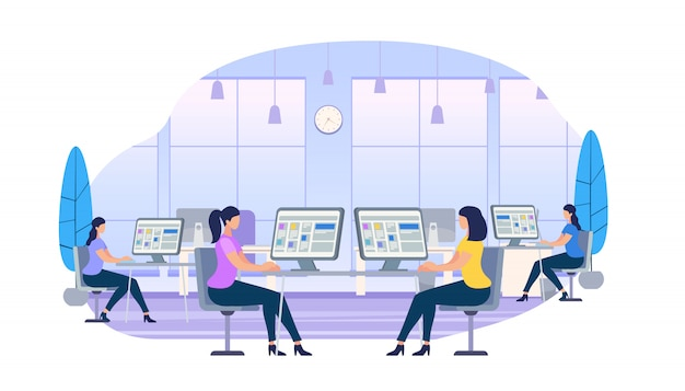 Mulheres jovens, trabalhando, ligado, computadores, sentando, em, escrivaninhas