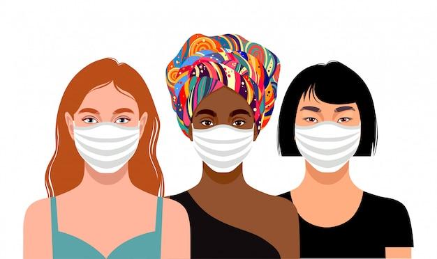 Mulheres jovens usando máscaras de proteção