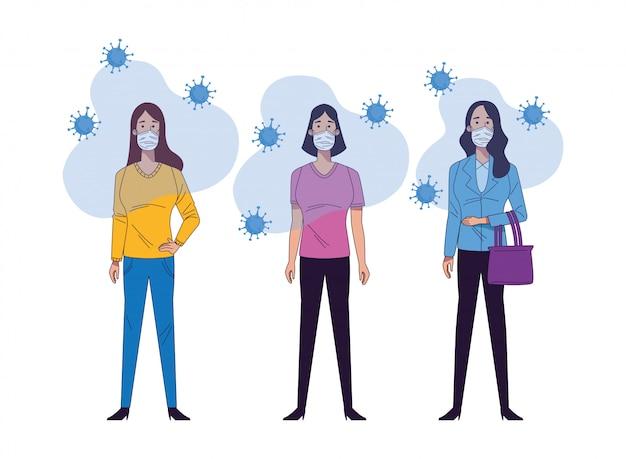 Mulheres jovens vestindo máscaras médicas caracteres