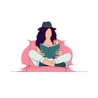 Mulheres lendo ilustração plana de livro