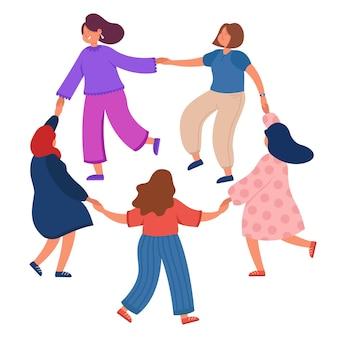 Mulheres liderando dança redonda em fundo branco