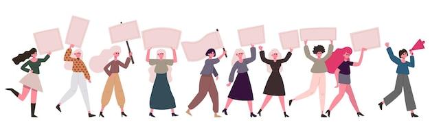 Mulheres manifestantes. movimento feminino, ativistas feministas com cartazes. conjunto de demonstração de proteção dos direitos das mulheres. movimento de direitos feministas, irmandade do feminismo