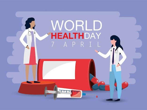 Mulheres médicos com seringa para o dia mundial da saúde