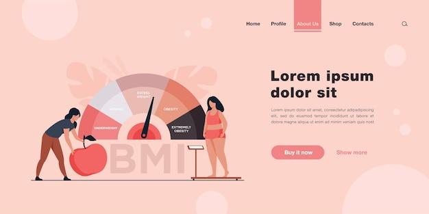 Mulheres minúsculas perto de escalas de gráfico obesas página inicial em estilo simples.