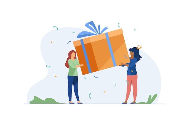 Mulheres minúsculas segurando uma caixa de presente. presente, fita, ilustração plana de felicidade.