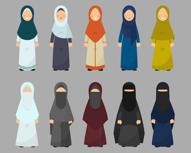 Mulheres muçulmanas com diversos estilos de vestido definido.