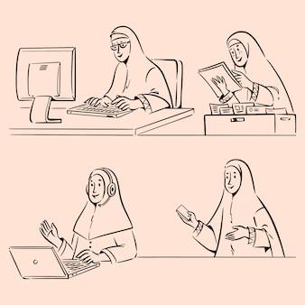 Mulheres muçulmanas com hijab trabalhando ilustração de rabiscos