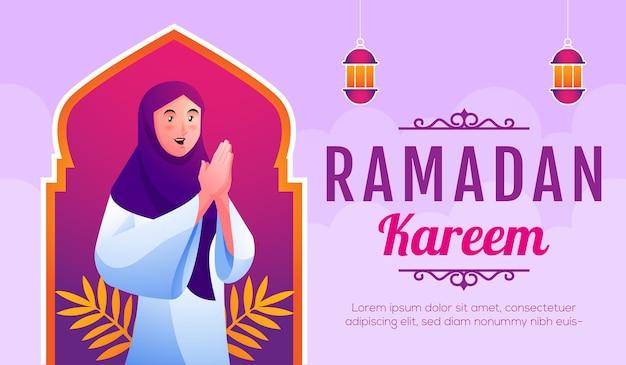 Mulheres muçulmanas sorridentes dando as boas-vindas a ramadan kareem