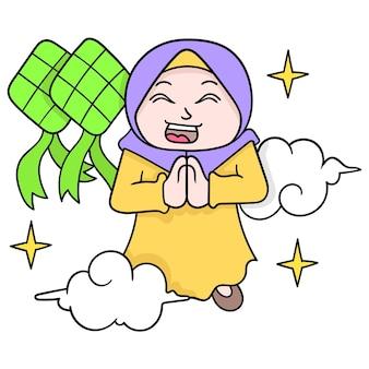Mulheres muçulmanas usando hijabs estão se desculpando pela celebração do eid, arte de ilustração vetorial. imagem de ícone do doodle kawaii.