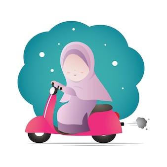 Mulheres muçulmanas usando lenço na cabeça hijab andando de design de personagens de desenhos animados de moto.