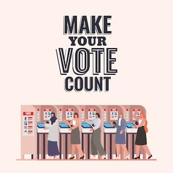 Mulheres na cabine de votação com design de texto de contagem de votos, tema do dia das eleições.