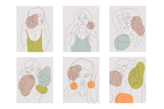 Mulheres na coleção de estilo de arte linha elegante
