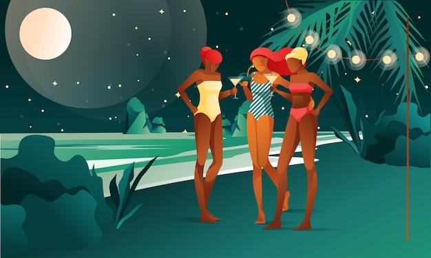 Mulheres na festa na praia - vetor royalty-free