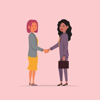 Mulheres negócio, apertar mão