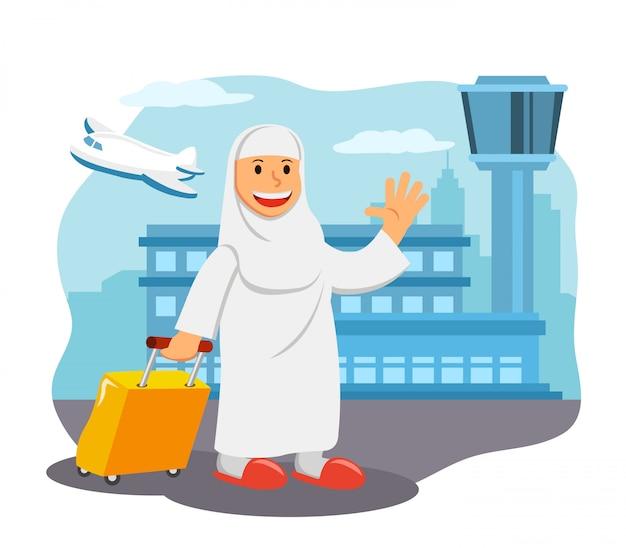 Mulheres no aeroporto pronto para pilgimage viagem a meca.