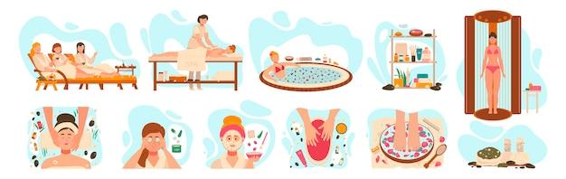 Mulheres no centro de spa, procedimentos de salão de beleza de bem-estar, ilustração