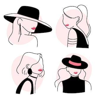Mulheres no conjunto de estilo de arte linha elegante