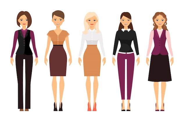 Mulheres no escritório dress code em cores violeta e bege