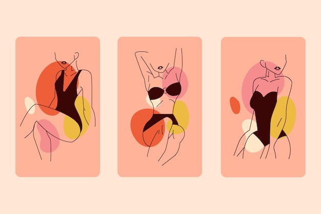 Mulheres no estilo de arte linha elegante