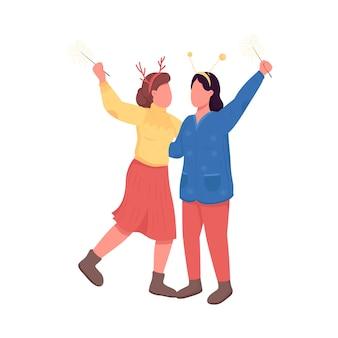 Mulheres no personagem sem rosto de cor plana de noite festiva. meninas com tiara de rena. feriado de inverno. ilustração de desenho animado isolada de festa de natal para design gráfico e animação web