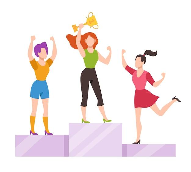 Mulheres no pódio da vencedora