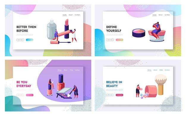 Mulheres no salão de estética. personagens femininos testando produtos para a pele no salão de beleza.