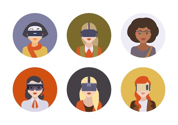 Mulheres nos fones de ouvido de realidade virtual