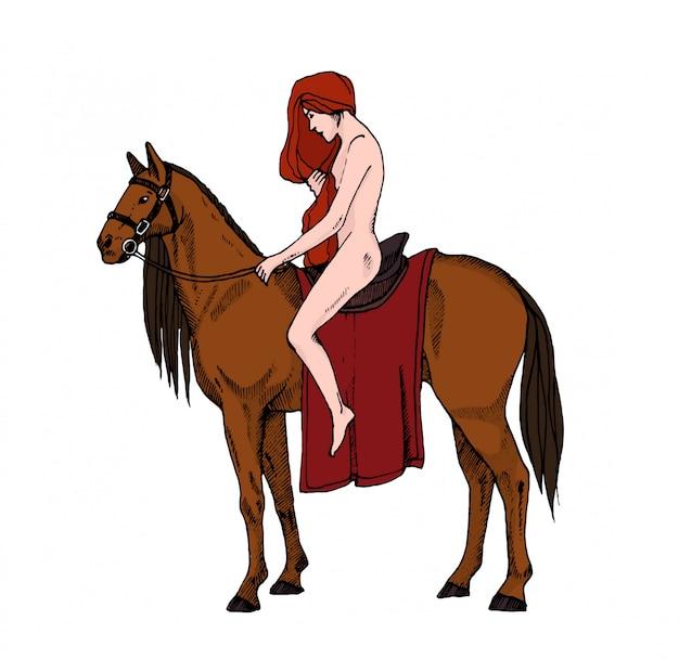 Mulheres nuas, montando um cavalo. lady godiva. ilustração colorida.