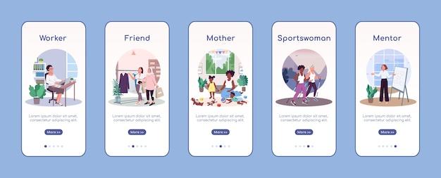 Mulheres papéis sociais modelo de vetor plano de integração de tela de aplicativo móvel. trabalhador, amigo, mãe. passo a passo do site com personagens. ux, ui, interface gui de desenho animado para smartphone, conjunto de estampas