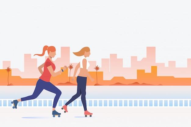 Mulheres, patinação, com, distante, edifícios, em, fundo