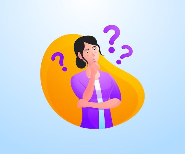 Mulheres pensam tentando encontrar conceitos de solução de problemas
