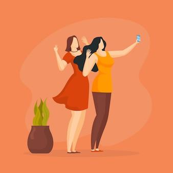 Mulheres planas tirando selfies com o telefone