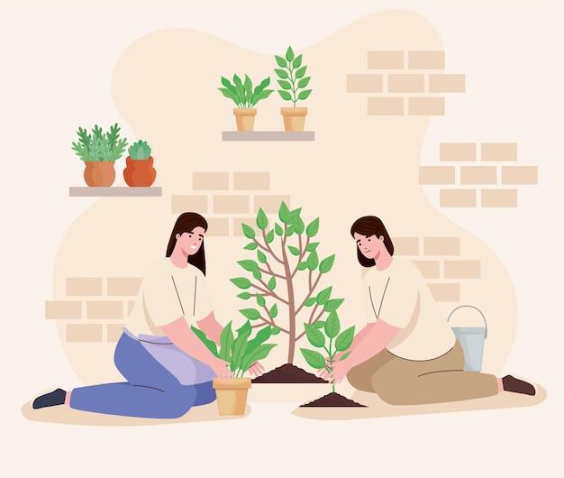Mulheres plantando personagens