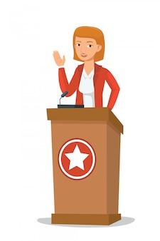 Mulheres político fazendo discurso