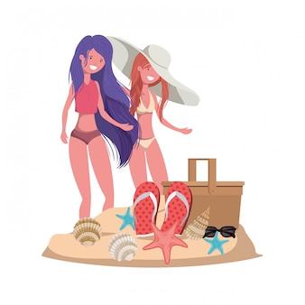 Mulheres, praia, com, cesta piquenique