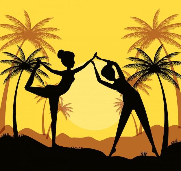 Mulheres praticam ioga com palmeiras e montanhas