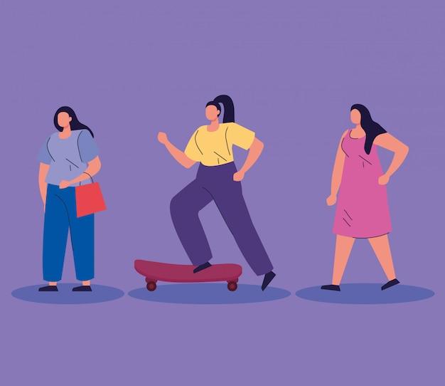 Mulheres praticando atividades avatar personagens