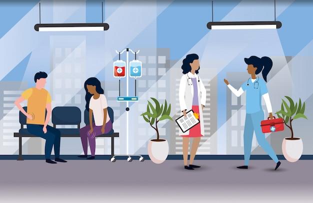 Mulheres profissionais médicos com pacientes doentes