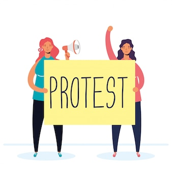 Mulheres protestando com ilustração de megafone e cartaz