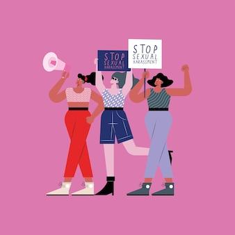 Mulheres protestando por assédio sexual