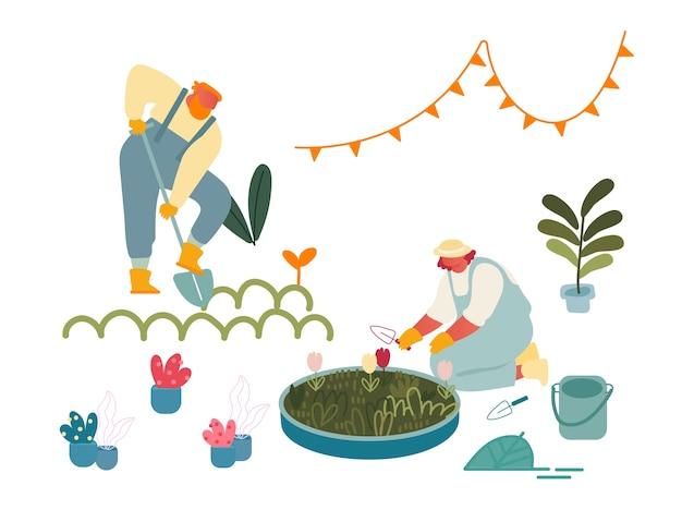 Mulheres que apreciam o hobby de jardinagem.