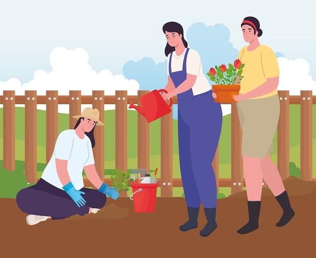Mulheres que fazem jardinagem com regador, ferramentas, balde e vaso de flores, planta de jardim e natureza