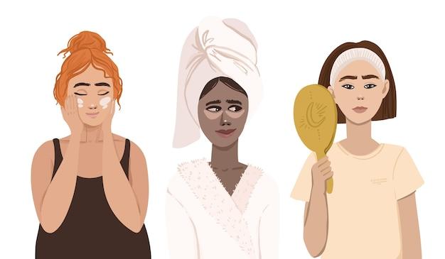 Mulheres que usam cremes e espelhos na rotina de cuidados com a pele