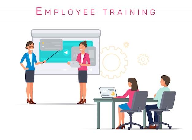 Mulheres realizam treinamento. treinamento de funcionário. vetor.